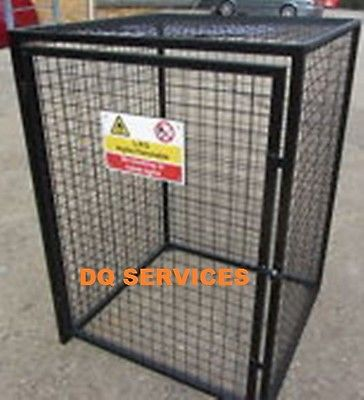 Black powder coated welded mesh 1800 x 900 x 900mm gas cage with safety sign on front door