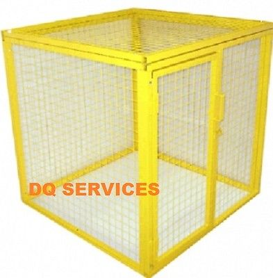 Yellow powder coated welded mesh 1200 x 1200 x 1200mm gas cage