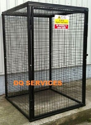 Black powder coated welded mesh 1800 x 1200 x 1200mm gas cage with safety sign on front door