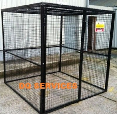 Black powder coated welded mesh 1800 x 1800 x 1800mm gas cage with safety sign on front door