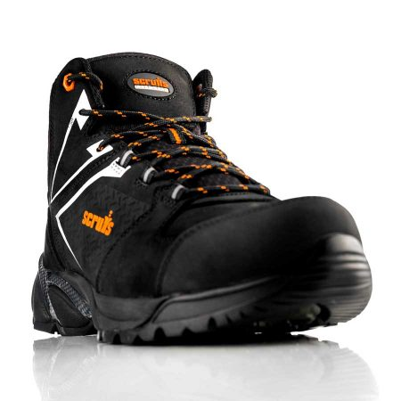 Black nubuck leather Victory safety boots with reflective grey and orange detailing and Scruffs logo on the tongue and side