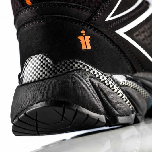 Close up of the heel on the Victory safety boot with orange Scruffs logo and reflective grey detailing on the side