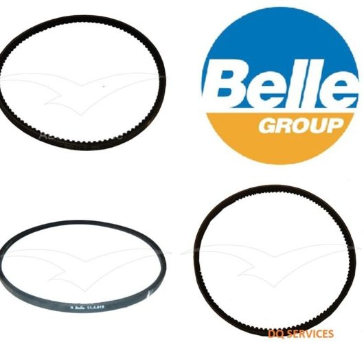 Three black drive belts for various models of Belle compactor machines next to Belle logo on a white background