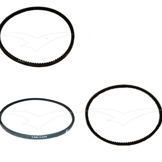 Three black drive belts for various models of Belle compactor machines on a white background