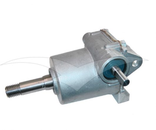 Side view of spare silver metal gearbox for the 1999 onwards Belle minimix 140/150 mixers