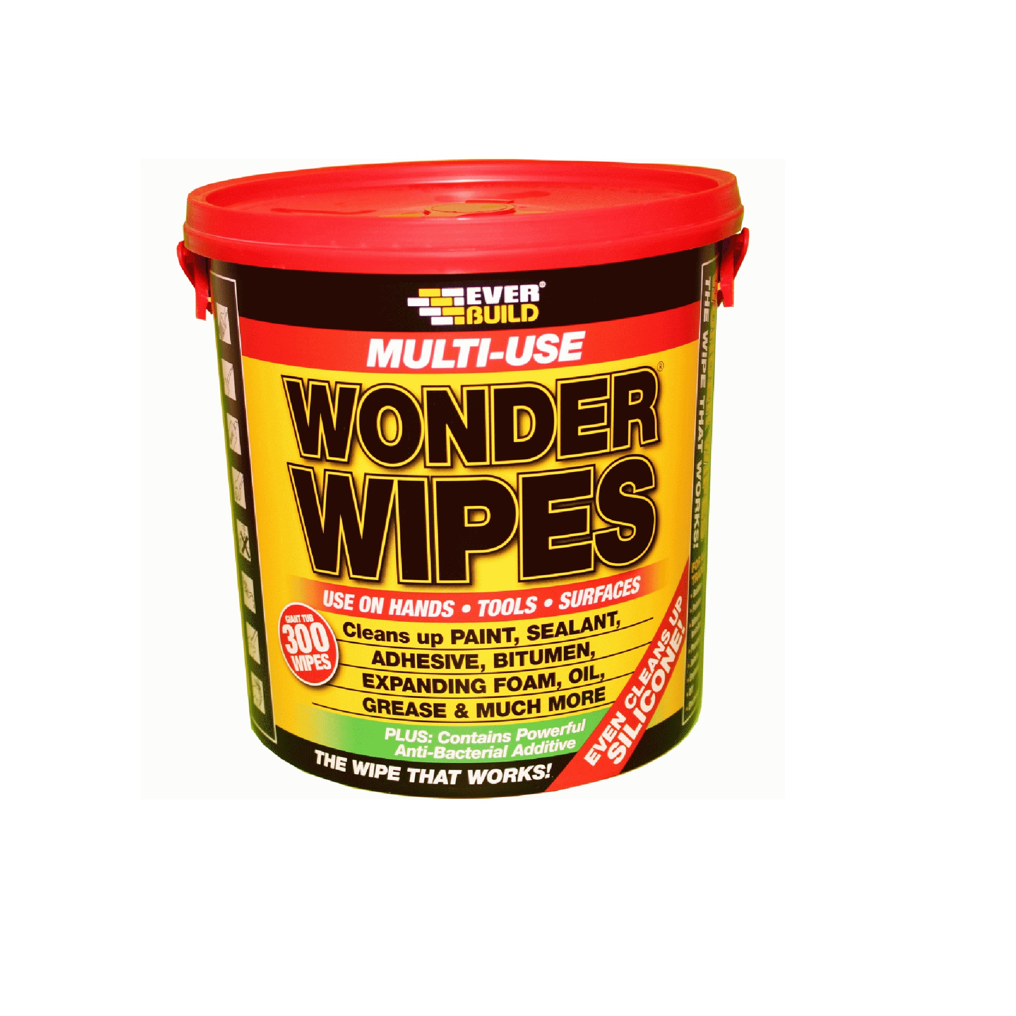 Wonder Wipes 300 wipes tub with red lid and carry handle and a yellow label with information about the wipes on the front