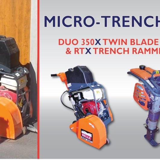 Micro-trenching poster with Belle twin blade floorsaw duo 350X and RTX trench rammer on