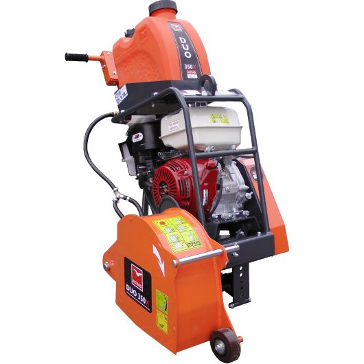 Belle twin blade floorsaw duo 350X with orange protective blade guard, protective metal frame around engine and water tank on top