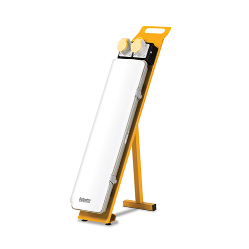 Rectangle defender 2ft LED contractor light with 2 power outlets at the top mounted onto a yellow steel frame stand
