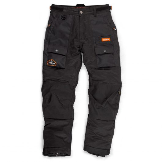 Black polyester expedition trousers with zip pockets, knee pad inserts, elastic cuff bottoms and sewn on orange Scruffs logo