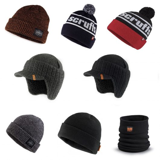 A selection of Scruffs winter knitted hats/beanies in various colours and a black Scruffs snood on a white background