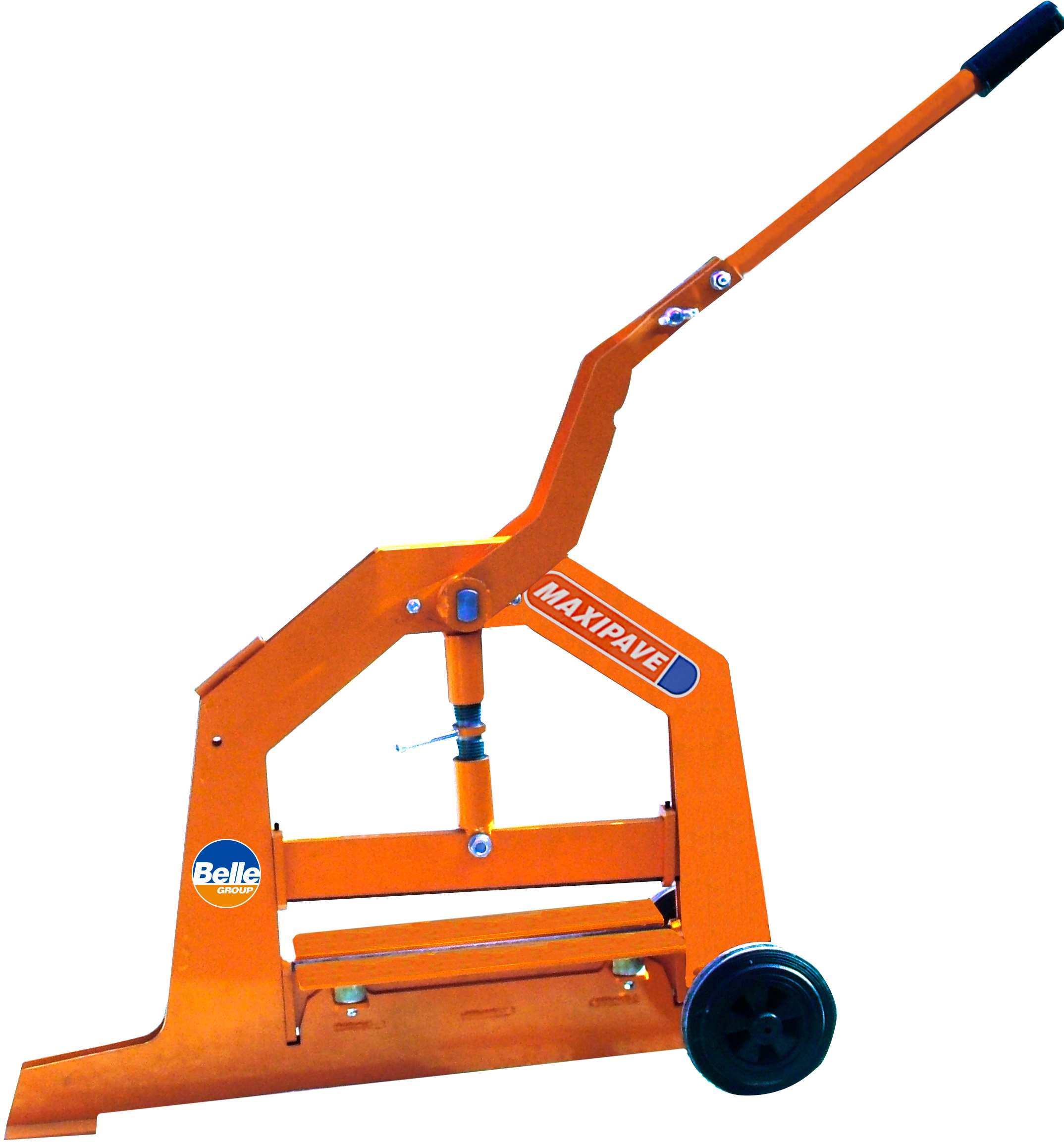 Orange metal Maxipave block cutter with long handle, wheels on the back and Belle branding on the side