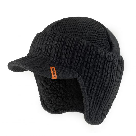 Black knitted peaked beanie hat with ribbed design and orange Scruffs logo label sewn into peak