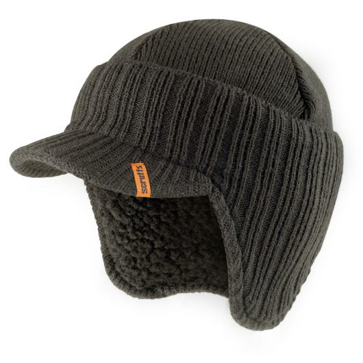 Graphite knitted peaked beanie hat with ribbed design and orange Scruffs logo label sewn into peak