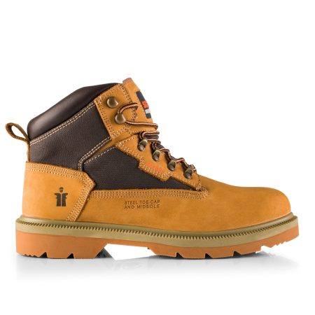 Tan nubuck leather women's twister safety boot with contrasting textile, padded ankle collar and tongue and Scruffs branding