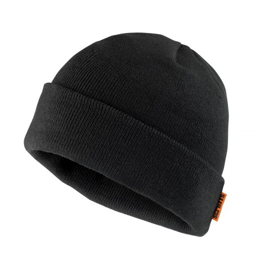 Black knitted thinsulate beanie with orange Scruffs logo label sewn onto rim