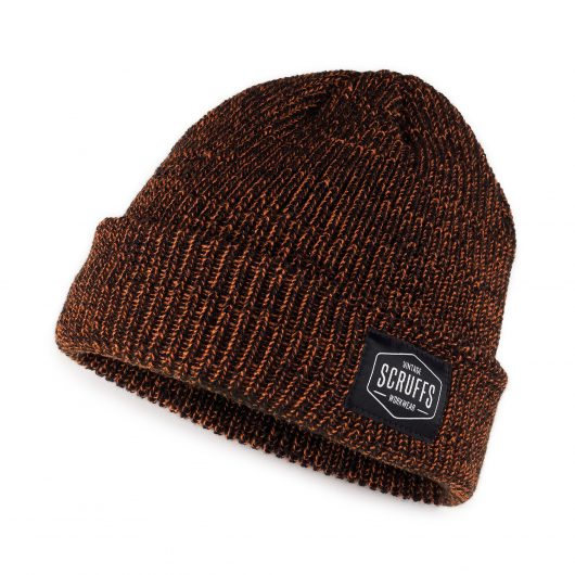 Orange and black knitted vintage beanie hat with sewn on Scruffs logo label on rim