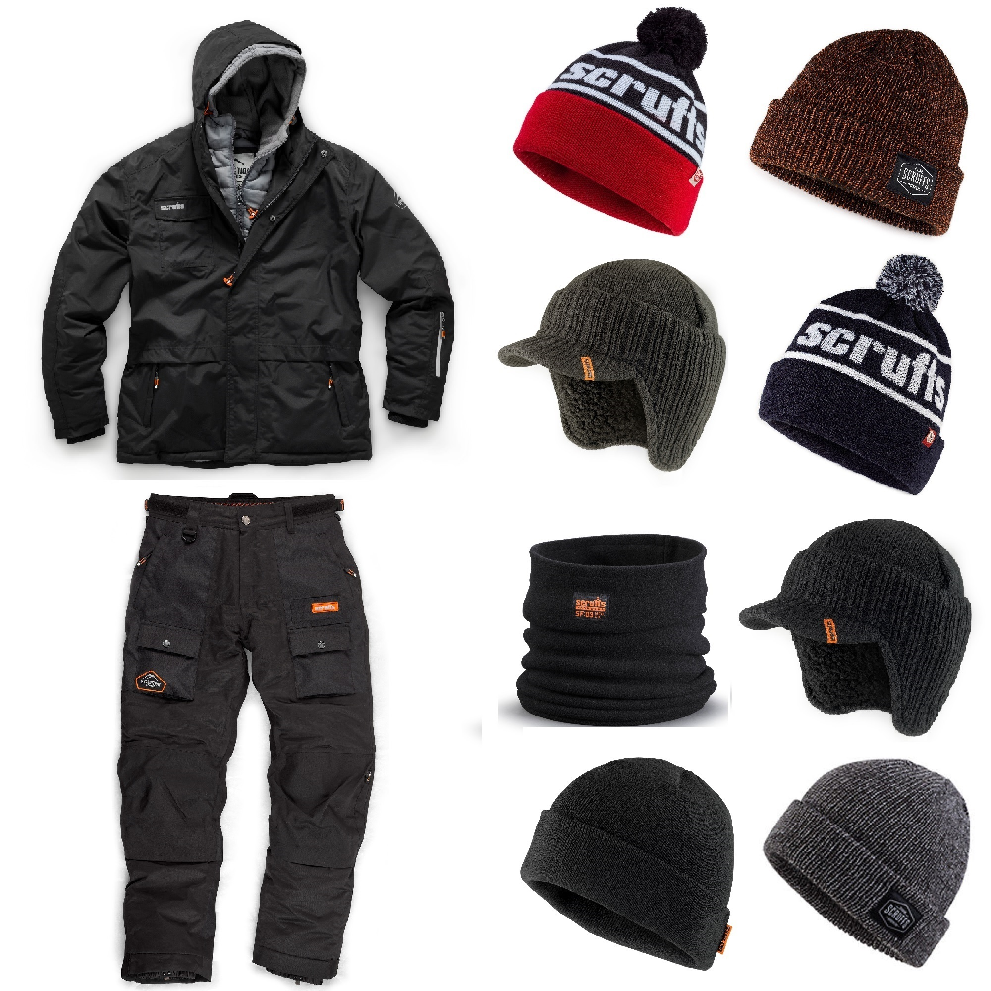 Scruffs double zip jacket, Scruffs thermo trousers and a selection of Scruffs knitted winter hats and a black Scruffs snood