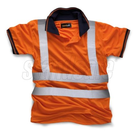 Orange cool dry polyester polo with reflective silver hi viz tape from Standsafe