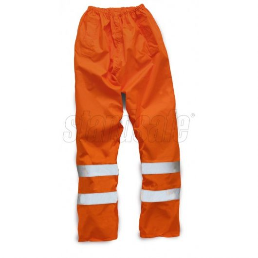Orange polyester hi vis over-trousers from standsafe with reflective silver hi vis tape stripes on calf area