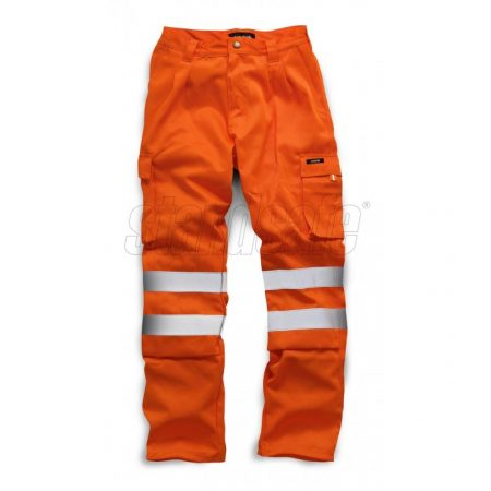 Orange polyester and cotton trousers from Standsafe with reflective silver hi viz stripes at knee area