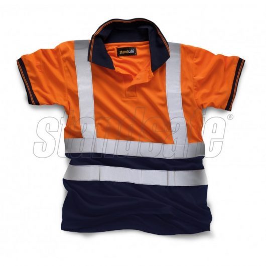 Navy and orange two tone cool dry polyester polo with reflective silver hi viz tape from Standsafe