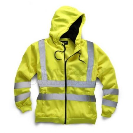 Fluorescent yellow polyester Standsafe hoodie with reflective silver taping and black zipper closure