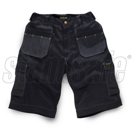 Black polyester and cotton work shorts with contrasting stitching, multiple pockets and standsafe branding on one pocket