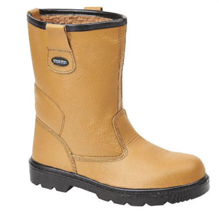 Tan leather Tuffking 9050 rigger boots with fur lining and Tuffking branded pull-on tabs
