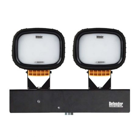 2 Defender floodlight light heads with black silicone sleeves bolted onto black Defender branded metal holder
