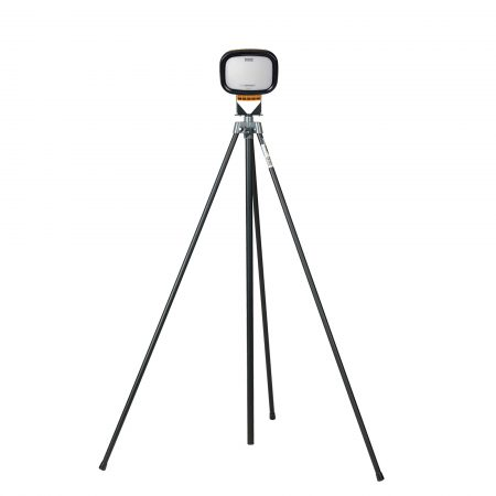 Single Defender LED6000S light head in black casing mounted on black swing leg tripod