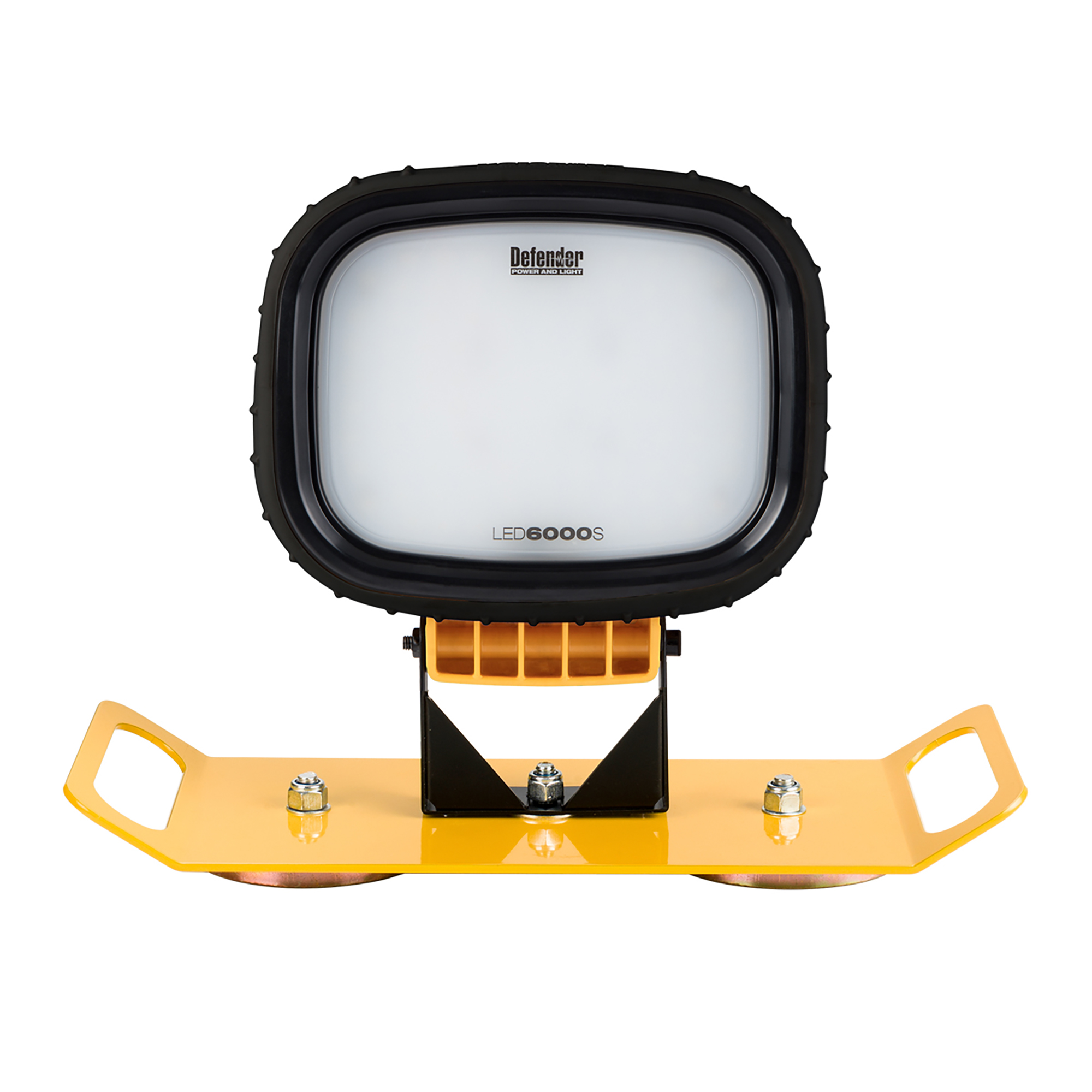 Single Defender LED6000S light head mounted onto a yellow magnetic bracket