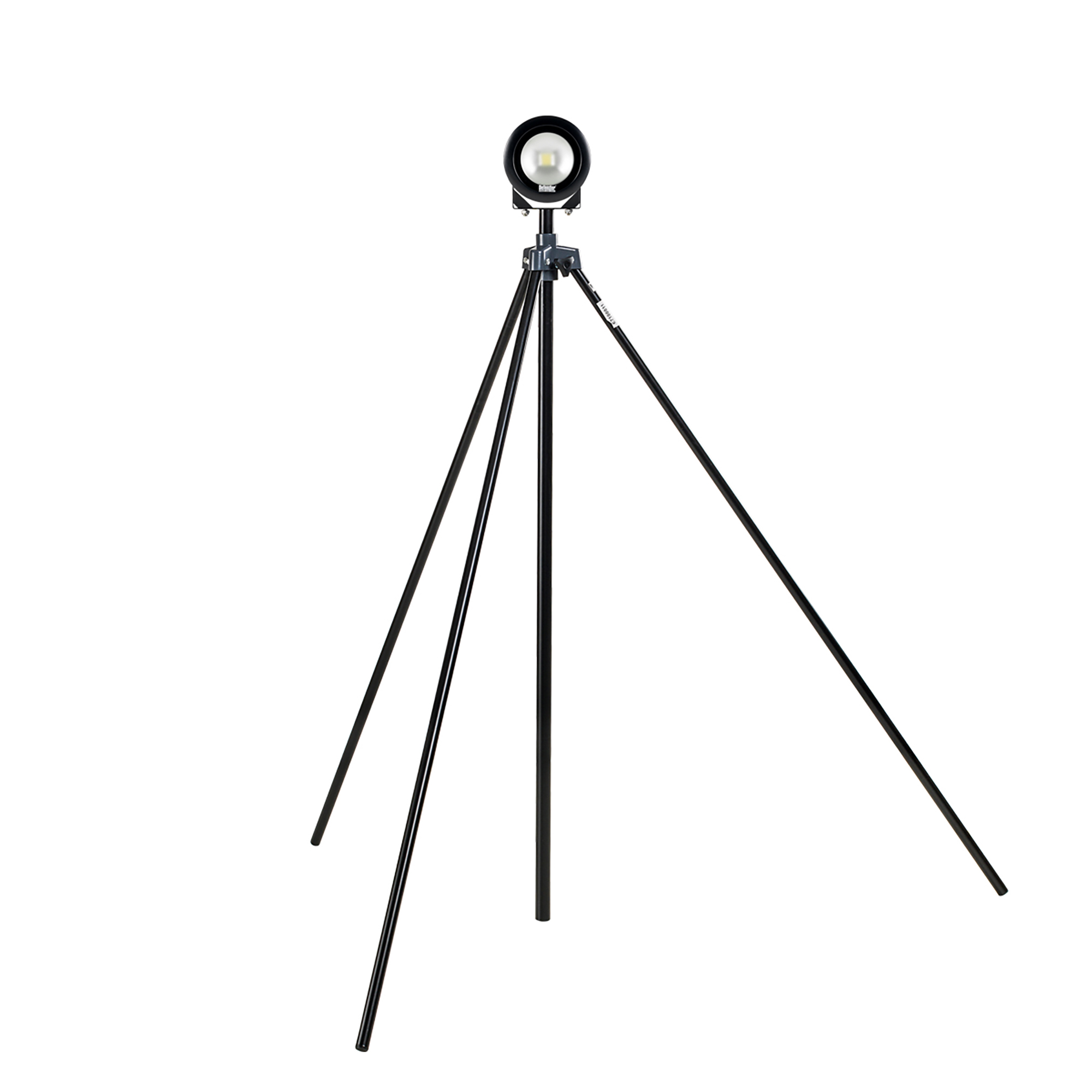 Defender round DF1200 LED light head in black casing mounted on black swing leg tripod
