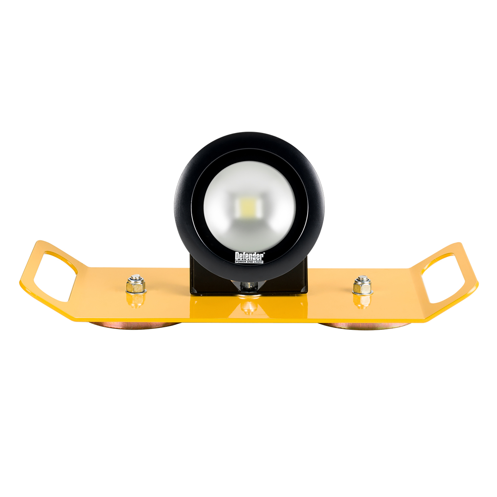 Single round Defender DF1200 LED light head mounted onto a yellow magnetic bracket