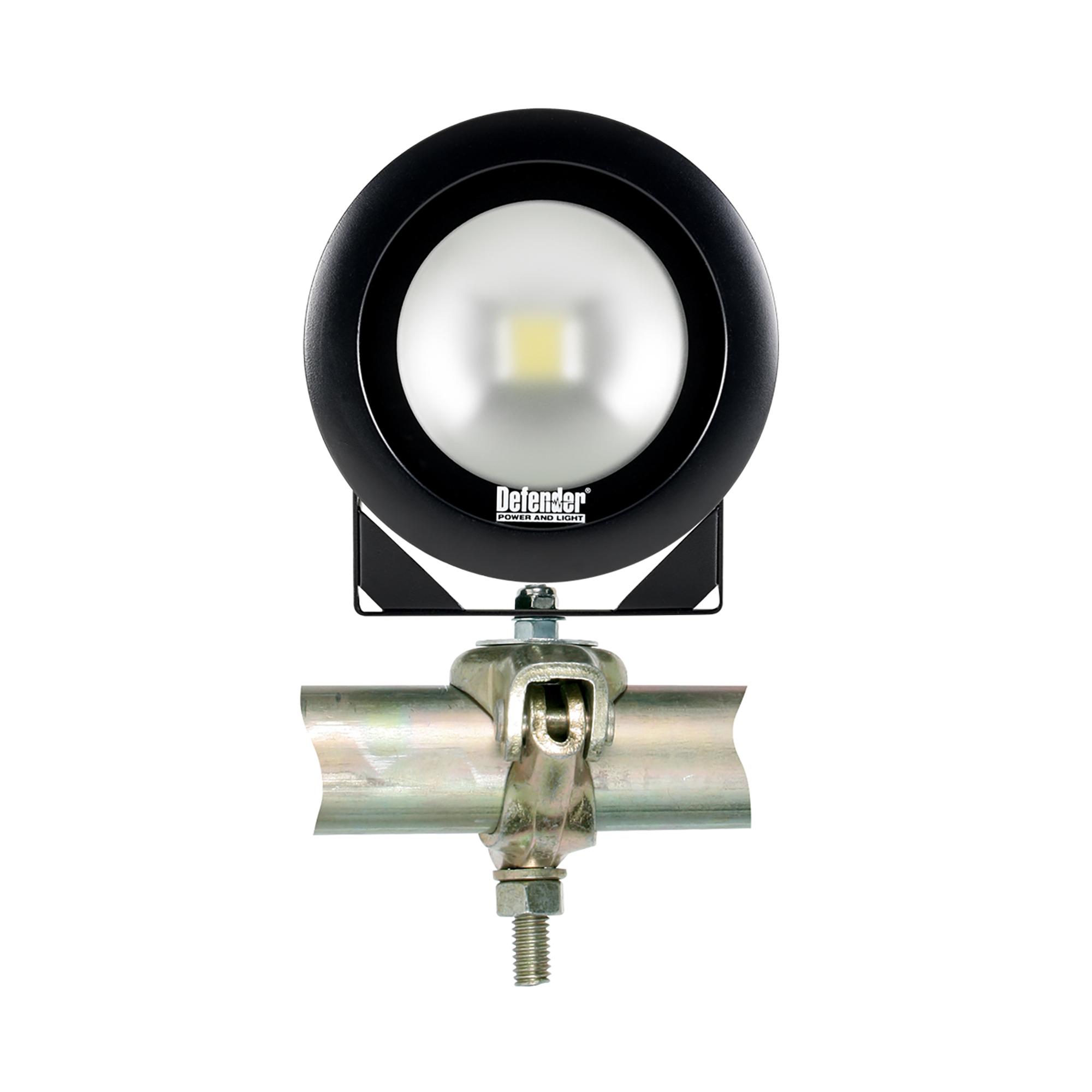 Single round Defender DF1200 LED light head mounted onto a universal scaffolding bracket