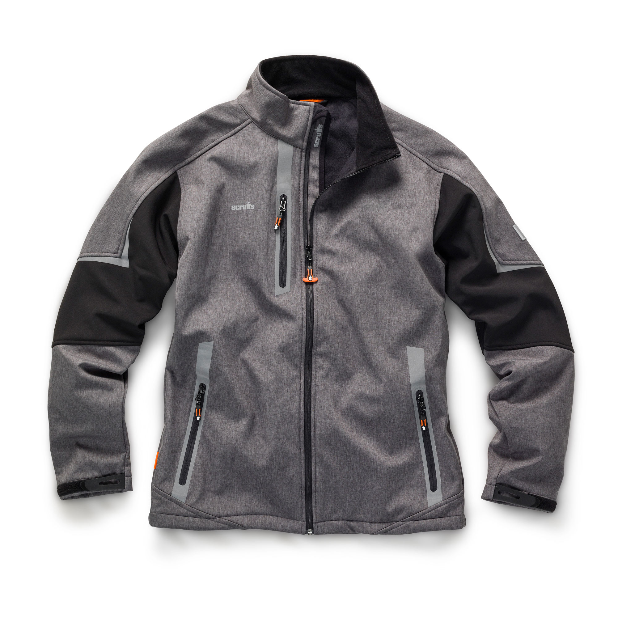 Charcoal polyester Scruffs pro softshell with orange zips and contrasting grey reflective detailing around pockets and shoulders