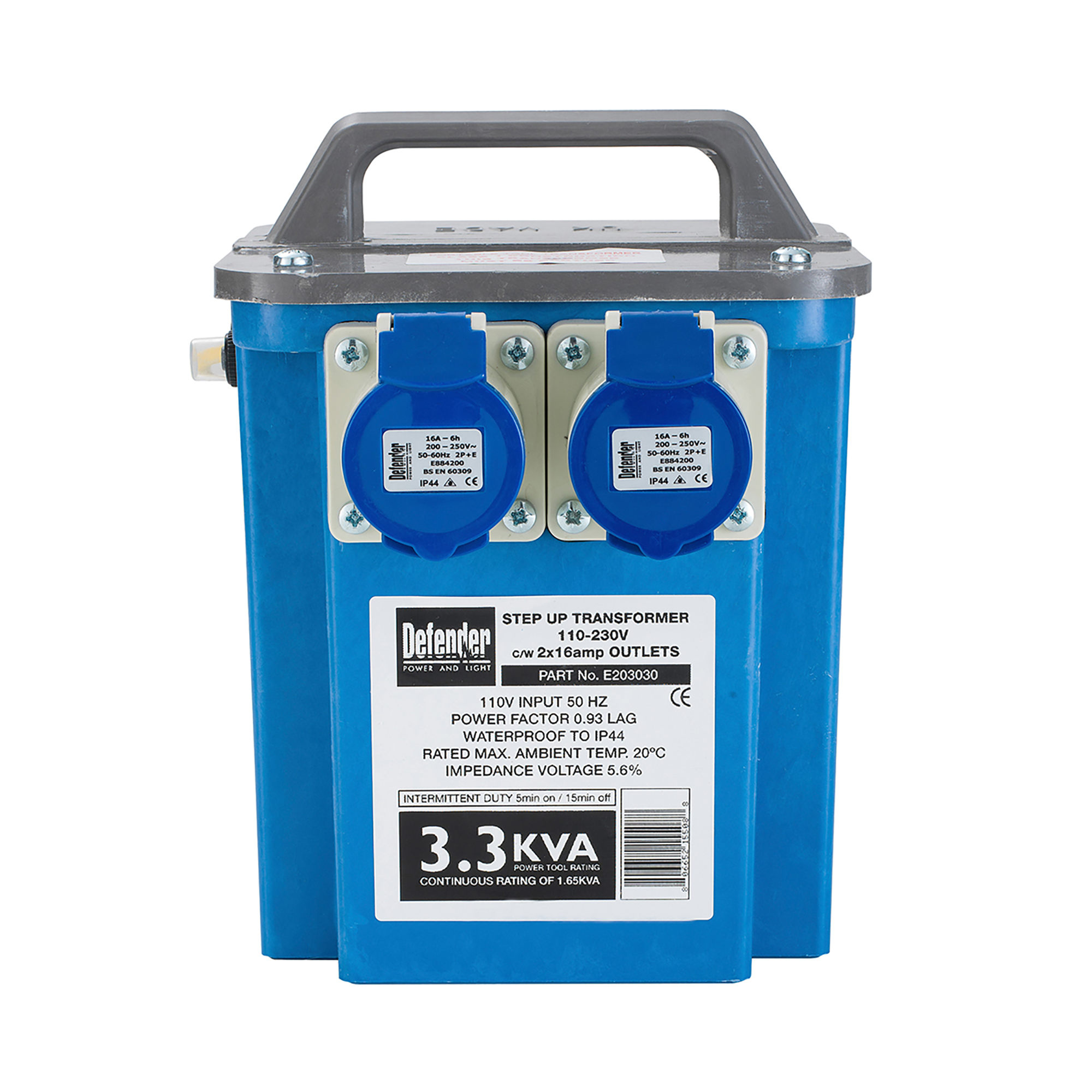 Blue cube Defender step-up transformer with handle on top, 2 power outlets and information stickers on the front
