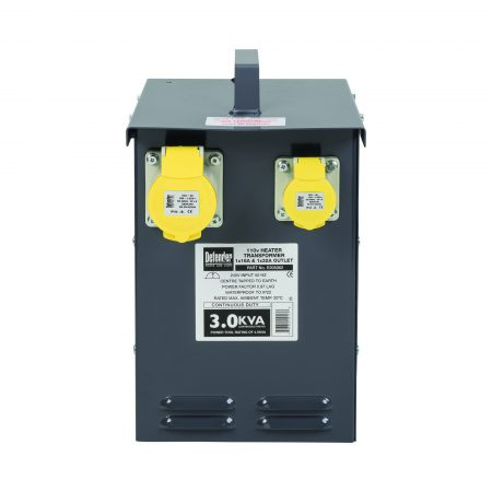 Defender heater transformer with grey powder coated casing with handle on top, 2 power outlets and information sticker on front