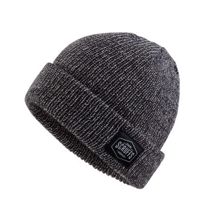 Graphite grey knitted vintage beanie hat with sewn on Scruffs logo label on rim