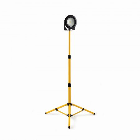 Defender round DF1200 LED light head in black casing mounted on yellow telescopic tripod