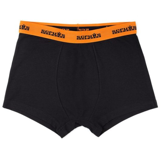 Black poly-cotton boxer shorts with orange waistband with black Scruffs logo