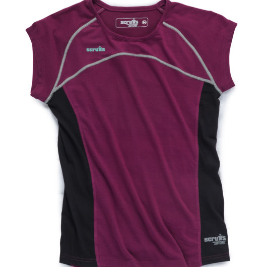 Plum polyester active tshirt for women with contrasting black side panels and contrasting grey stitching and Scruffs logo's