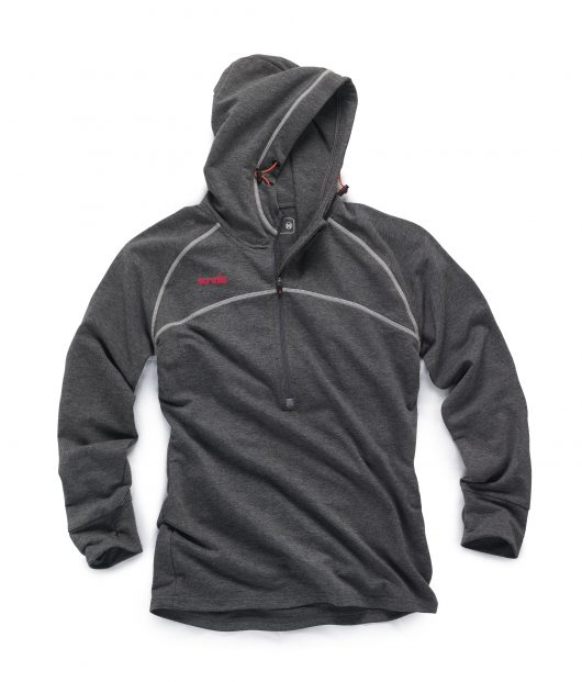 Graphite coloured women's active hoodie with raglan sleeves, contrasting grey flat lock seams and pink Scruffs logo on chest