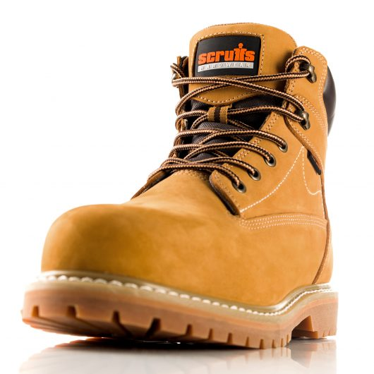 Tan nubuck leather Sharpe lace up safety boot with black and orange Scruffs logo on tongue