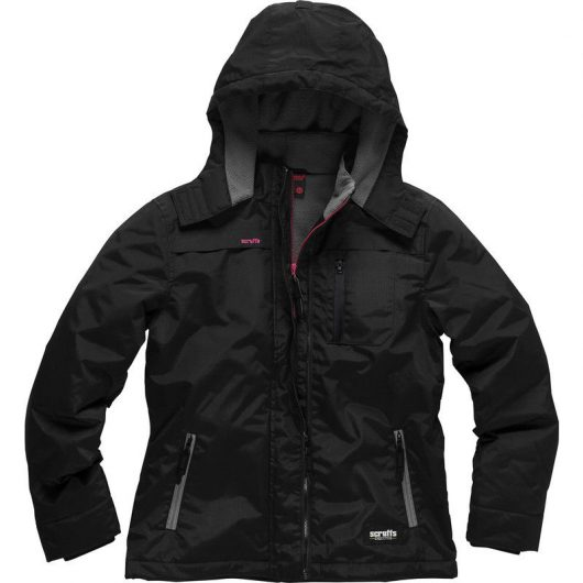 Black nylon ripstop women's executive jacket with pink zip detailing, a hood, 3 pockets and pink Scruffs logo on chest