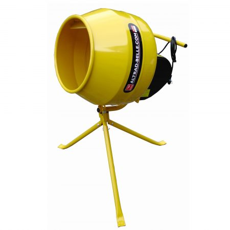 Compact and portable yellow Belle Mastermix 110 on its barrow height swivel stand on a white background