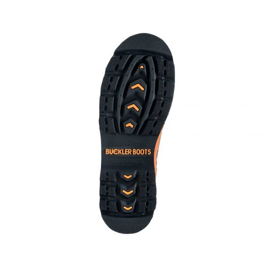 Bottom view of Buckler BBZ6000BL safety wellington boot sole with orange Buckler logo in the centre of sole