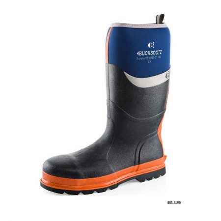Knee high Buckler BBZ6000 Safety wellington in blue with orange sole and blue neoprene with Buckler logo around calf area