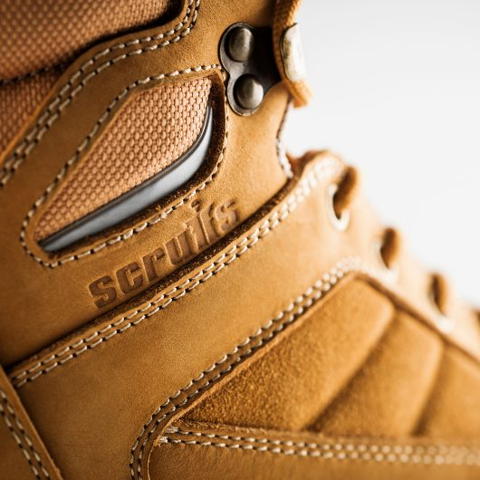 Close up of the embossed Scruffs logo on the side of the oxide safety boot