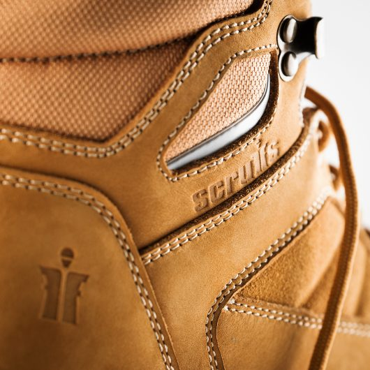 Close up of the 2 embossed Scruffs logo's on the side and heel of the Scruffs oxide boot